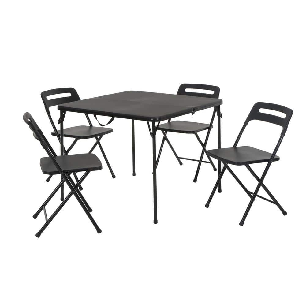 Cosco 5 Piece Black Outdoor Safe Fold In Half Folding Card Table Set 37337blk1e The Home Depot