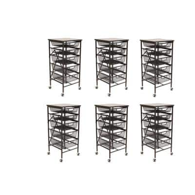 Wheeled Foldable 5 Steel Drawer Storage Caddy Cart w Wooden Top (6 Pack)