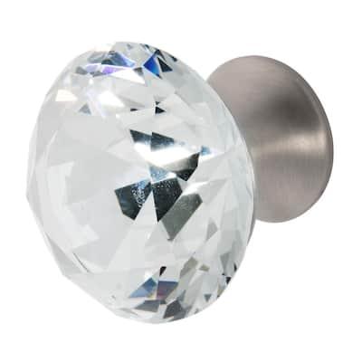 Nina 1-3/8 in. Satin Nickel with Clear Crystal Cabinet Knob