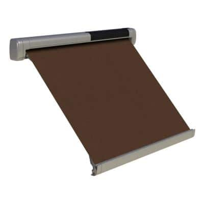 8 ft. Solar Powered Home Window Retractable Smart Awning, Stone Grey Case, True Brown Fabric
