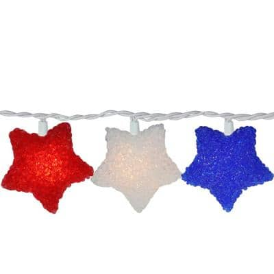 Set of 10 Clear Incandescent Light 4th of July Star Christmas Lights with White Wire