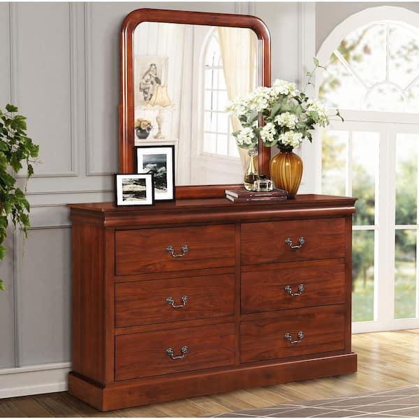 H Oak With Mirror Bedroom Dresser