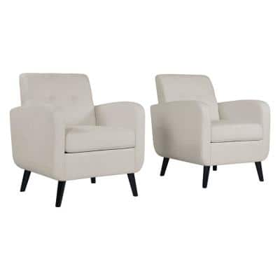 Keavy Mid-Century Modern in Off-White Alabaster Herringbone Arm Chairs (Set of 2)