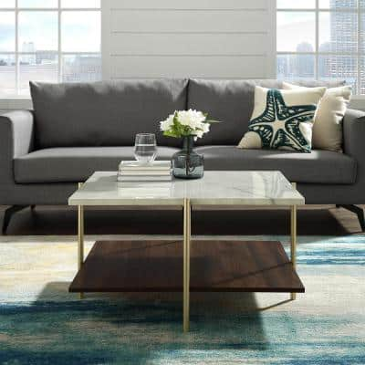 32 in. White/Gold/Brown Medium Square Faux Marble Coffee Table with Shelf