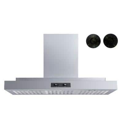 36 in. Convertible Wall Mount Range Hood in Stainless Steel with Hybrid Baffle and Carbon Filters