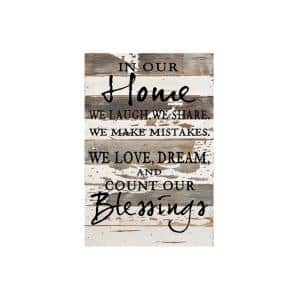 12 in. x 18 in. ''In our home'' Printed Wooden Wall Art