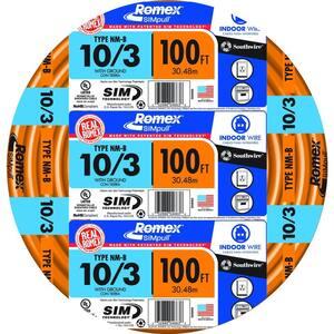 100 ft. 10/3 Solid Romex SIMpull CU NM-B W/G Wire