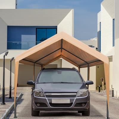 10 ft. x 20 ft. x 9.2 ft. Beige Roof Steel Carport