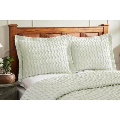 Isabella Collection in Wavy Channel Design 100% Cotton Tufted Chenille Comforter