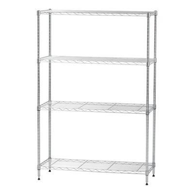 4 Shelf Wire Storage Unit, Silver