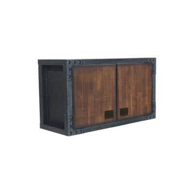 36 in. Industrial Black Metal with Wood Wall Cabinet