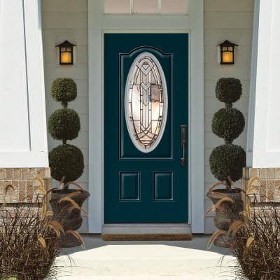 Chatham 3/4 Oval Lite Primed Steel Prehung Front Door with Brickmold
