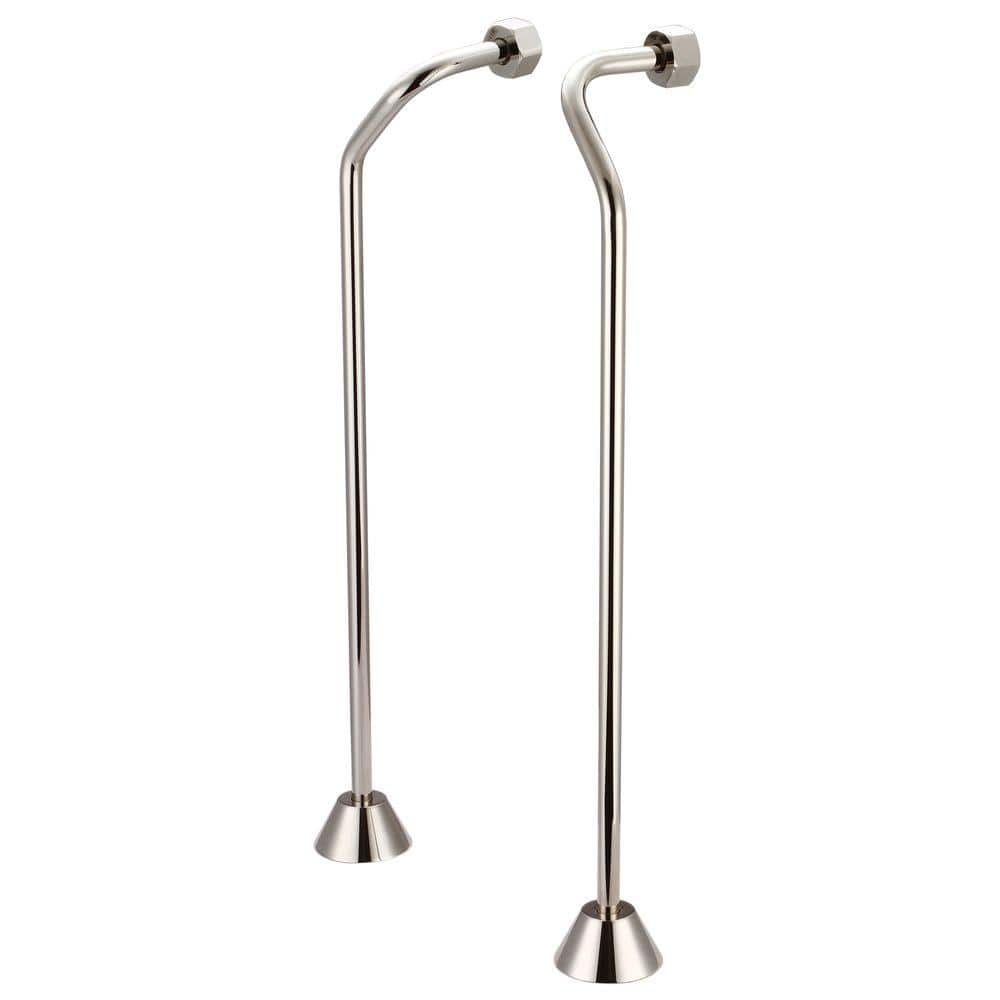 Water Creation 1 2 In Or 3 4 Double Offset Supply For Claw Foot Tubs Polished Nickel Sl 0003 05 The Home Depot