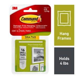 Small White Picture Hanging Adhesive Strips (16 Sets of Adhesive Strips)