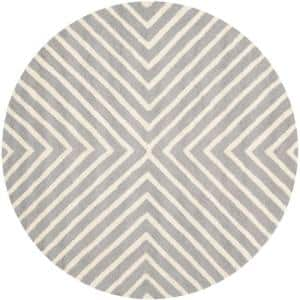 Cambridge Silver/Ivory 6 ft. x 6 ft. Round Striped Geometric Area Rug