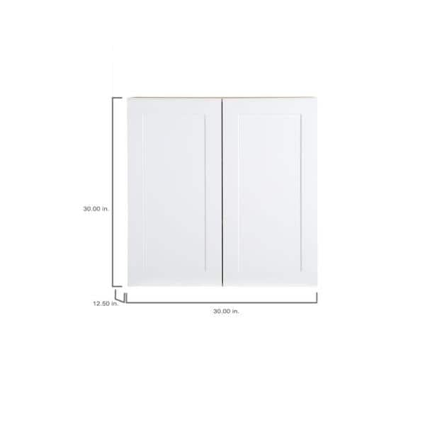 Hampton Bay Cambridge Shaker Assembled 30 In X 30 In X 12 5 In All Plywood Wall Cabinet In White Cm3030w Wh The Home Depot
