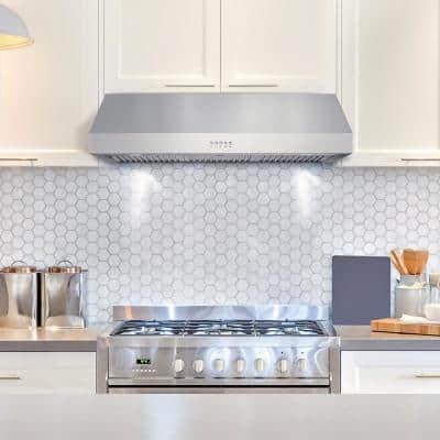 36 in. Ducted Under Cabinet Range Hood in Stainless Steel with LED Lighting and Push Button Controls