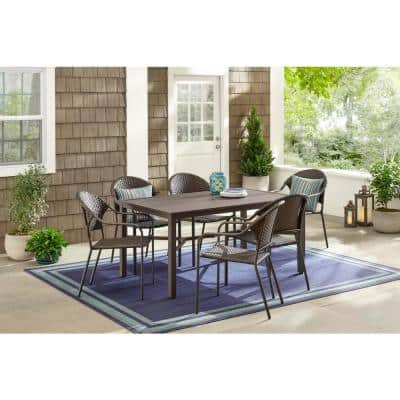 Mix and Match 60 in. x 37 in. Brown Rectangular Steel Outdoor Patio Dining Table with Slat Top