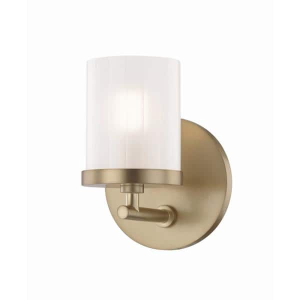 Mitzi By Hudson Valley Lighting Ryan 1 Light Aged Brass Bath Light With Clear Frosted Glass Shade H239301 Agb The Home Depot