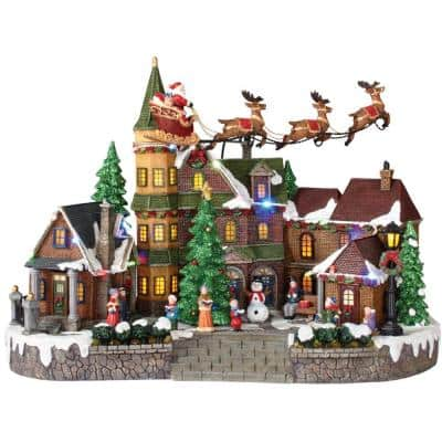12.5 in. Animated Musical LED Village with Santa Sleigh