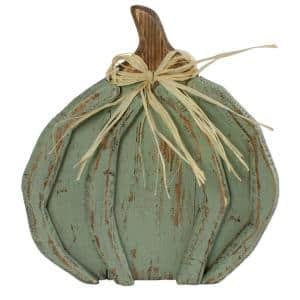 11.75 in. Blue Distressed Halloween Pumpkin Table Top Decoration