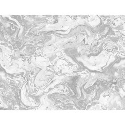 Luxe Haven Calcutta and Metallic Silver Faux Marble Peel and Stick Wallpaper (Covers 40.5 sq. ft.)