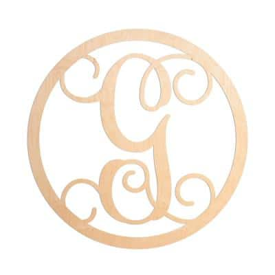 19 in. Unfinished Single Circle Monogram (G)