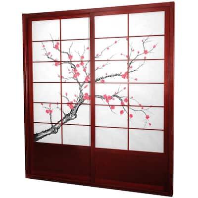7 ft. Rosewood Cherry Blossom 2-Panel Sliding Door
