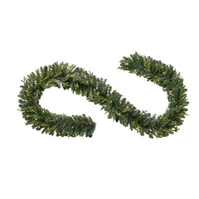 12 ft. Pre-Lit Norway Garland with Battery Operated Warm White LED Light