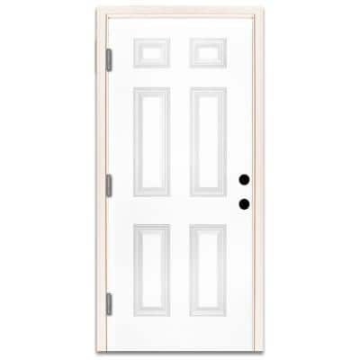 36 in. x 80 in. Premium 6-Panel Primed White Steel Prehung Front Door with 36 in. Right-Hand Outswing and 4 in. Wall