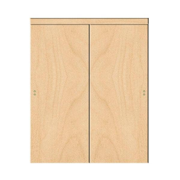 Impact Plus 72 In X 84 In Smooth Flush Solid Core Stain Grade Maple Mdf Interior Closet Sliding Door With Matching Trim Sfm342 7284m The Home Depot