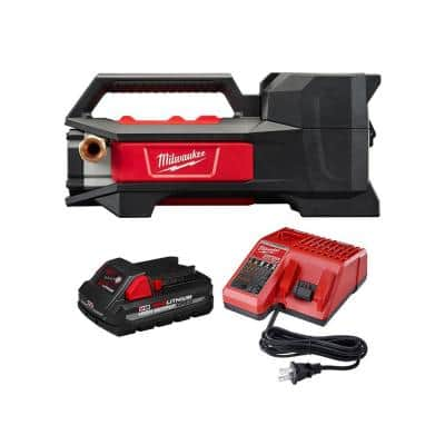 Milwaukee M18 18-Volt 1/4 HP Lithium-Ion Cordless Transfer Pump w/ 3.0Ah Battery and Charger