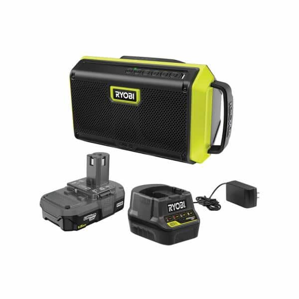 RYOBI ONE+ 18V Cordless Speaker with Bluetooth Kit with 1.5 Ah Battery and Charger | The Home Depot