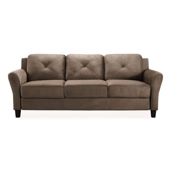 Lifestyle Solutions Harvard 31.5 in. Brown Microfiber 4-Seater Tuxedo Sofa with Round Arms