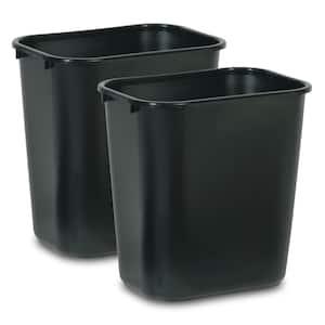 7 Gal. Black Rectangular Trash Can (2-Pack)
