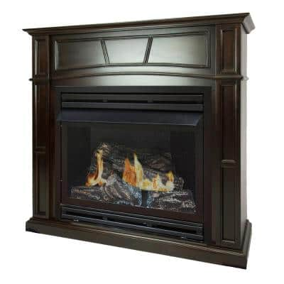 32,000 BTU 46 in. Full Size Ventless Propane Gas Fireplace in Tobacco
