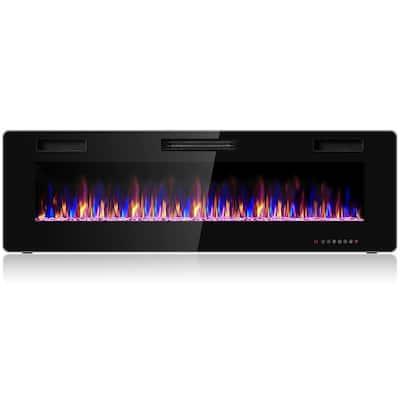 60 in. Wall-Mount Metal Smart Electric Fireplace in Black