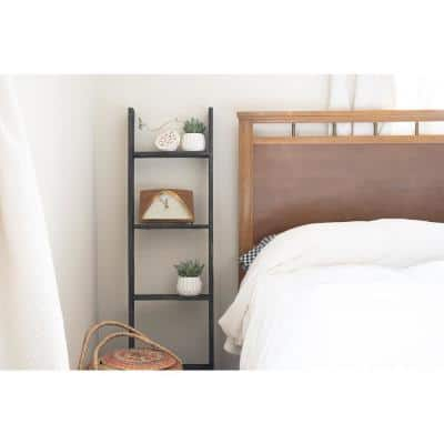 Rustic Farmhouse 48 in. x 13 in. Smoky Black Wooden Decorative Bookcase Picket Ladder