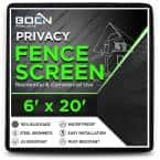 6 ft X 20 ft Black Privacy Fence Screen Netting Mesh with Reinforced Grommet for Chain link Garden Fence