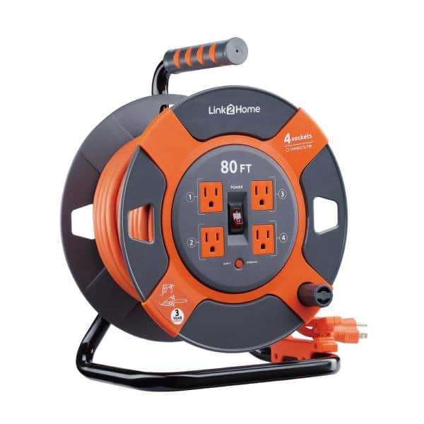 Link2Home 80 ft. 14/3 Extension Cord Storage Reel with 4 Grounded Outlets  and Surge Protector-EM-EL-800E - The Home Depot