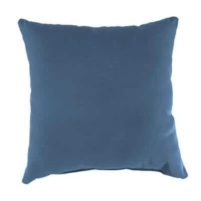 Sunbrella Canvas Sapphire Blue Square Outdoor Throw Pillow