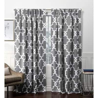 Black Pearl Trellis Blackout Curtain - 27 in. W x 84 in. L