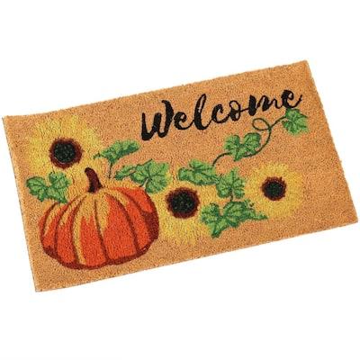 Pumpkin 17 in. x 29.5 in. PVC and Coir Indoor/Outdoor Doormat