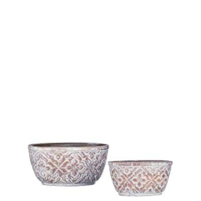 Brown Cement Patterned Oval Pot (Set of 2)