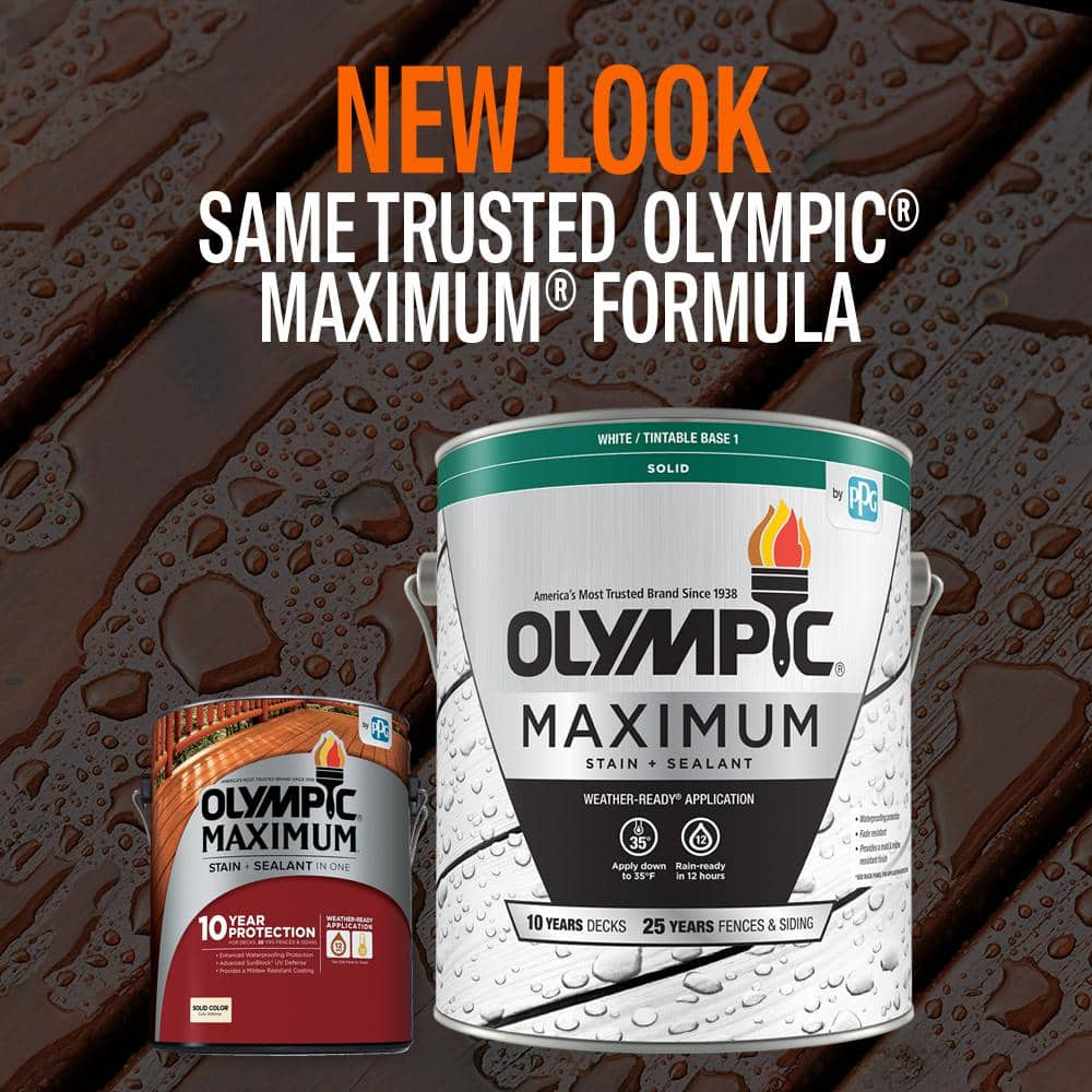 Olympic Maximum 1 Gal White Base 1 Solid Color Exterior Stain And Sealant In One 79601a 01 The Home Depot