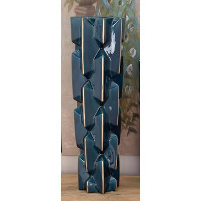 27 in. Modern Bowtie Blue and Gold Ceramic Decorative Vase