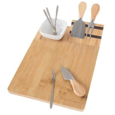 9-Piece Bamboo Cheese Serving Tray Set with Stainless Steel Cutlery