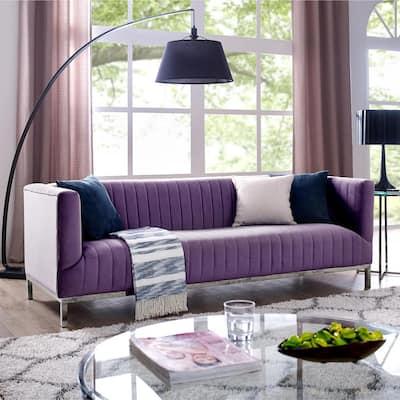 Daniel 32.7 in. Purple/Chrome Velvet 3-Seater Tuxedo Sofa with Nailheads
