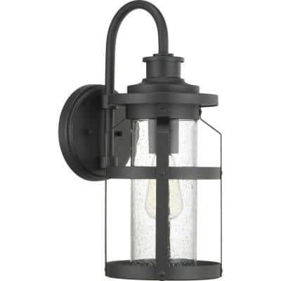 Haslett Collection 1-Light Textured Black Clear Seeded Glass Farmhouse Outdoor Medium Wall Lantern Light