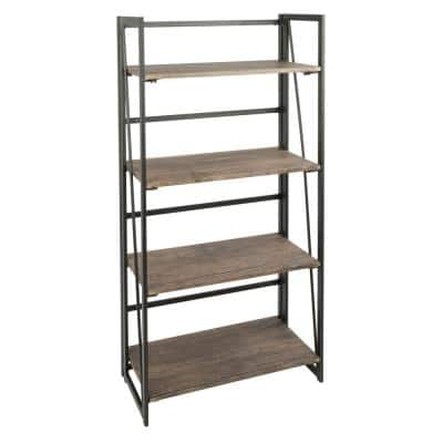 49.25 in. Distressed Brown/Black Metal 4-shelf Etagere Bookcase with Open Back